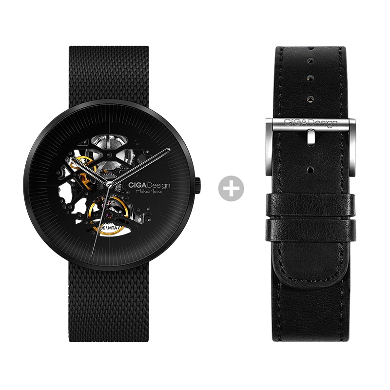 2021 الرجال الساعات الفولاذ المقاوم للصدأ 1 قطعة حركة ميكانيكية مستديرة ساعة اليد بسيطة الأسود الشظية الذكور ساعة relogios homem