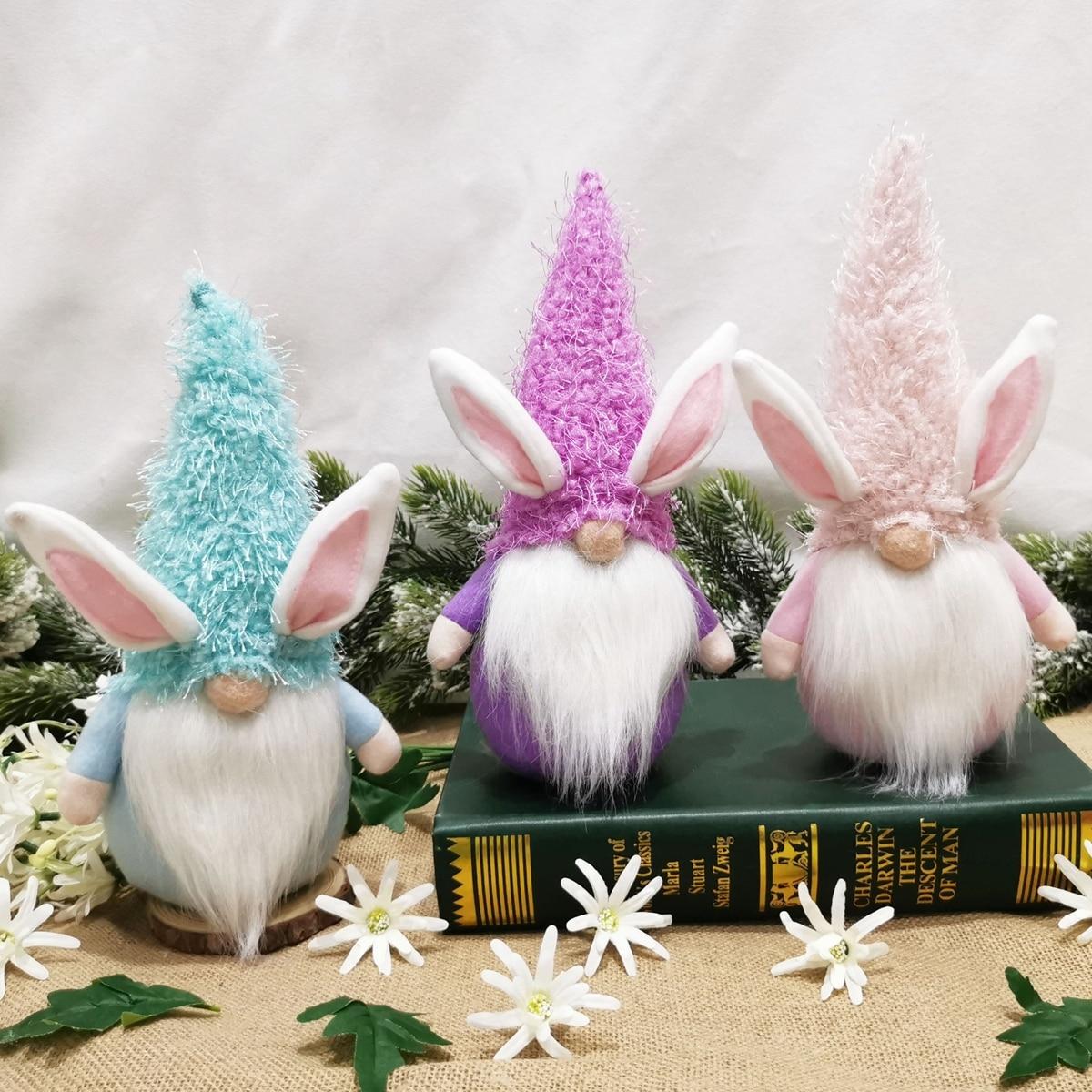 PATIMATE lalka bez twarzy króliczek wesołych świąt wielkanocnych dekoracja dla domu DIY wielkanocne artykuły na ślub na przyjęcie wesołych świąt wielkanocnych jajko królik Ornament