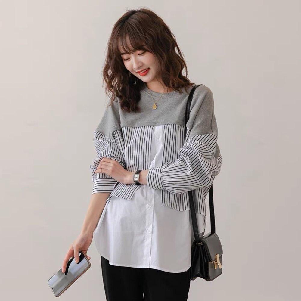 Autumn New 2021 Round Neck Fake Two Retro Stripe Splicing Loose Casual Blouse Korean Fashion Women's