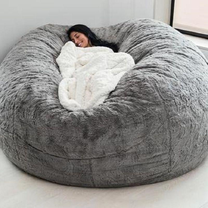 الأرائك الكبيرة منفوش العملاق الفراء كيس فول غطاء السرير غطاء أرضية فوتون أريكة أريكة أريكة للتمدد كسول بوف تاتامي الأطفال كرسي هدية