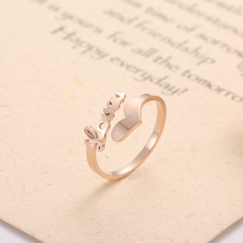 De alta calidad de acero de titanio corazón amor Simple anillos abiertos para las niñas y las mujeres de moda de anillo de boda de oro rosa súper fino elegante Engag