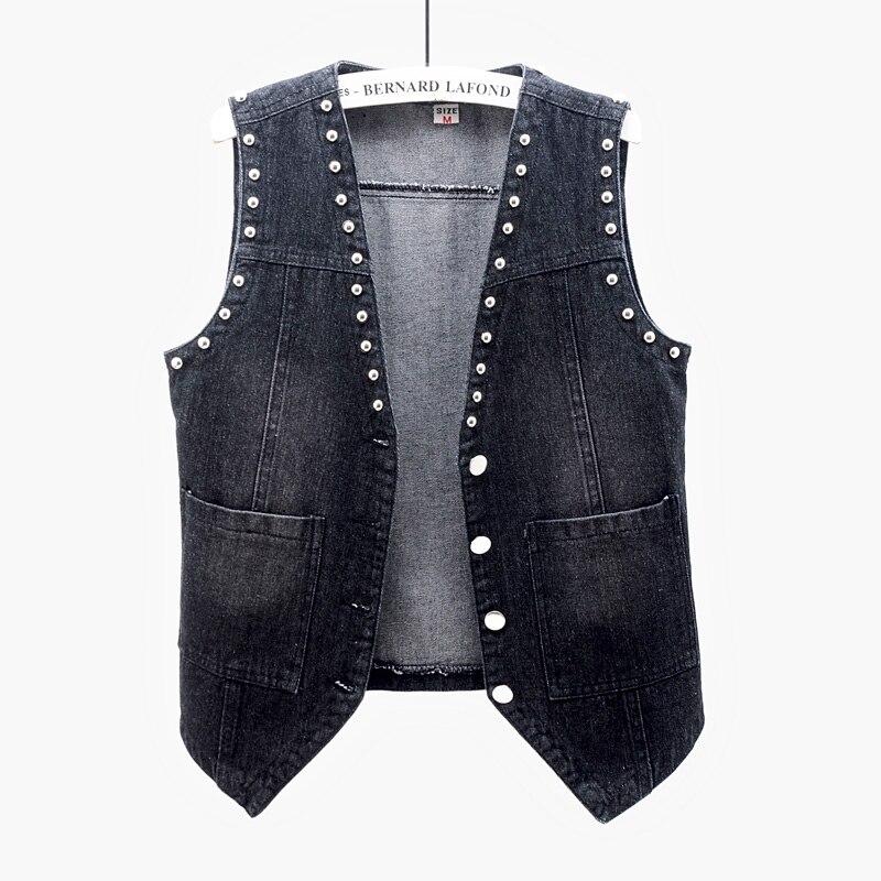 vintage preto azul rebite denim colete feminino verao casual bolso jeans coletes
