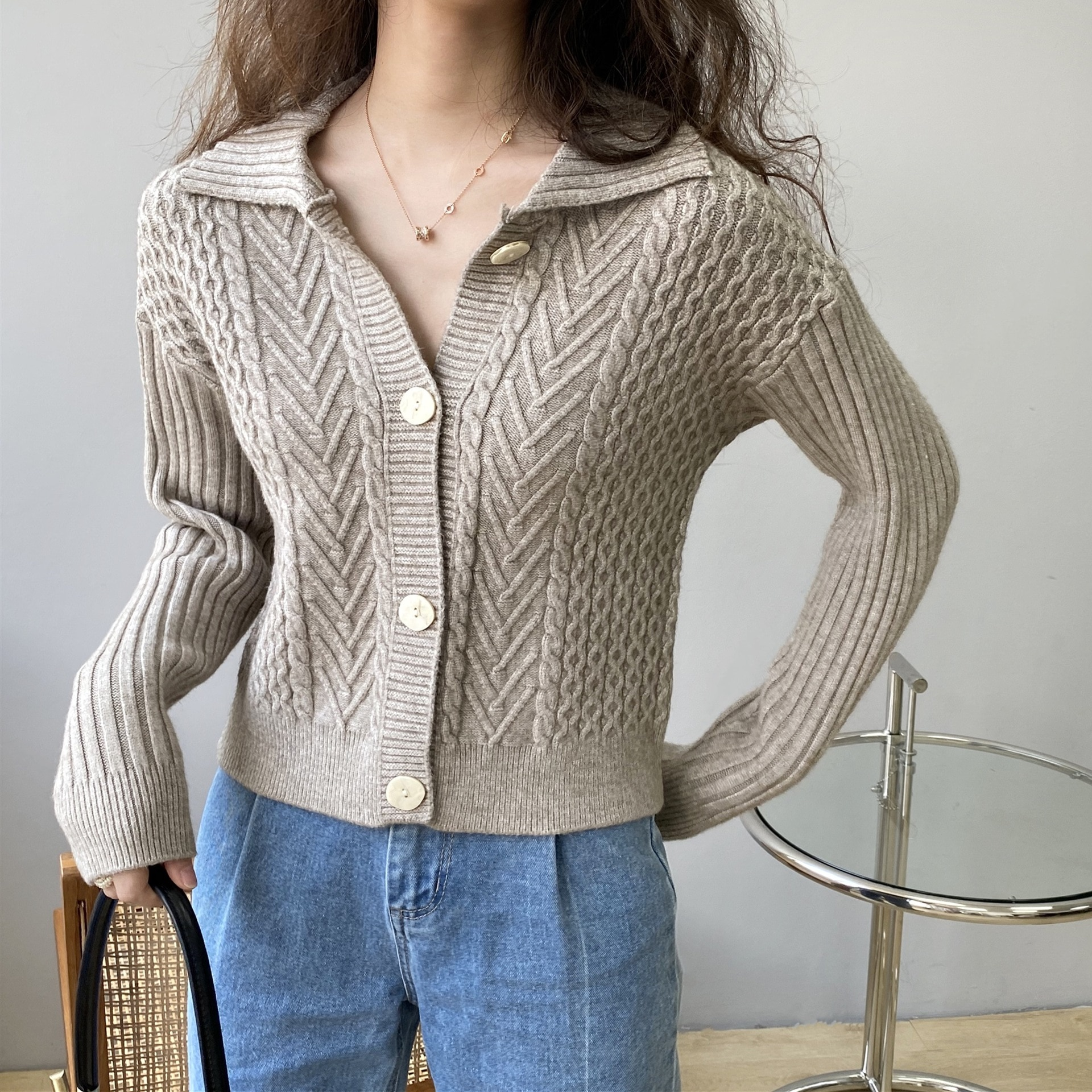 2021 Autumn Women Turn Down Collar Sweater Long Sleeve Design Slim Body Knitted Fashion Sweater Casual Women Cardigans Femme enlarge