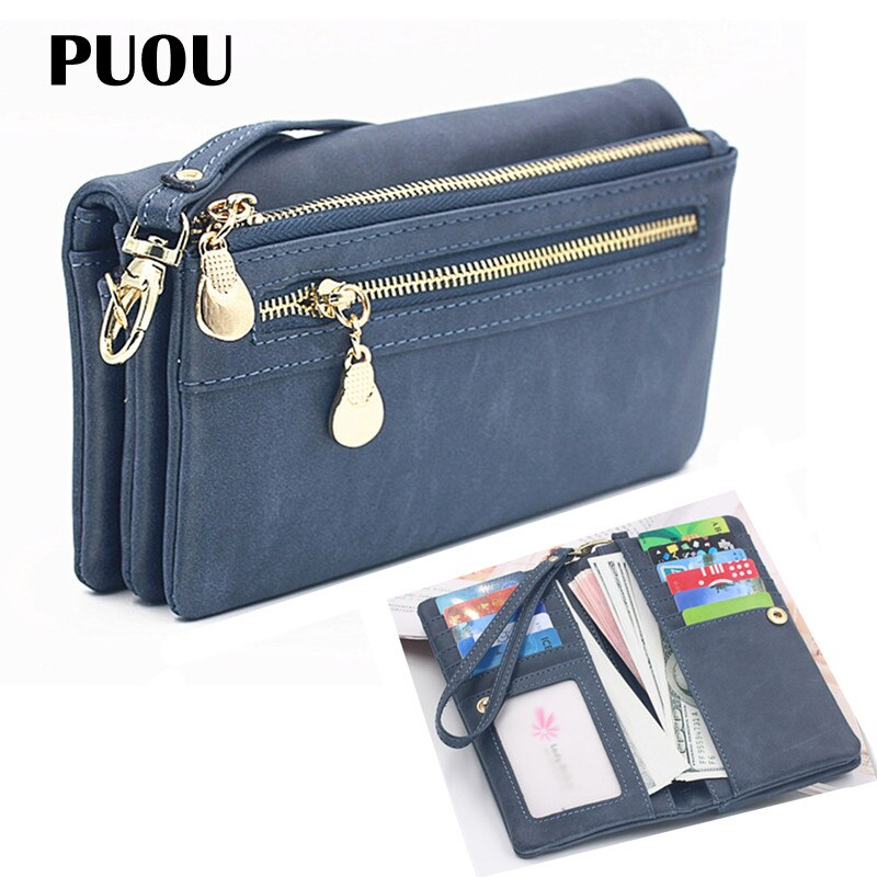 dudini fashion korean style wallet pu leather long section wallet women printing geometric pattern zipper 1 fold women wallets PUOU 2020 Fashion Zipper Purses Women's Wallets Envelop Long Wallet Women Long Section Clutch Wallet Soft PU Leather Money Bag