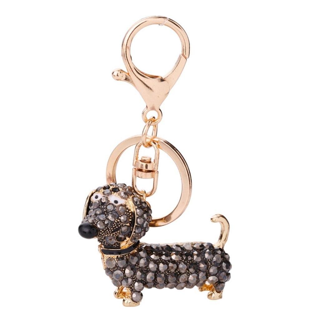 Маленький милый брелок для ключей со стразами в виде таксы и собаки, автомобильный брелок для ключей, подвеска, лучшие подарки для кошелька 2020