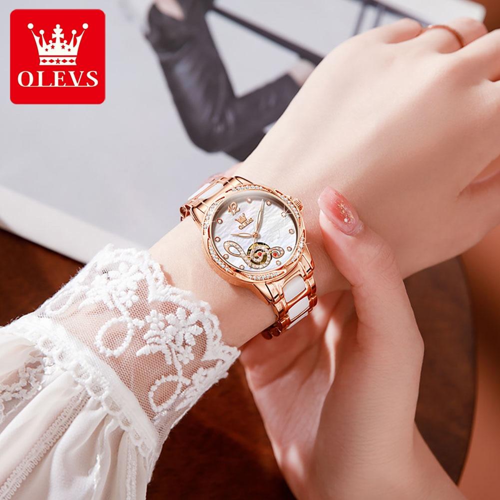OLEVS New Ladies Mechanical Watch Women Ceramic Steel Bracelet Top Luxury Diamond Waterproof Automatic Watch Fashion Clock 6656 enlarge