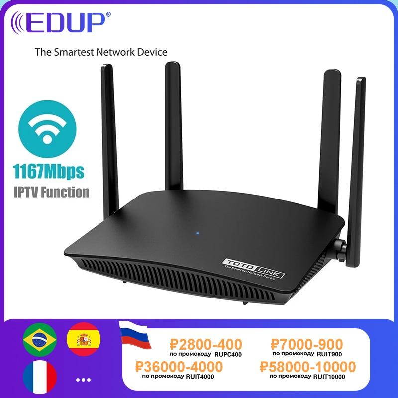 EDUP TOTOLINK-راوتر واي فاي 1200 متر ، ثنائي النطاق ، 11AC 2.4 جيجا هرتز/5 جيجا هرتز ، 4 هوائيات ، مكرر الشبكة اللاسلكية A720R ، دعم إدارة التطبيق IPTV