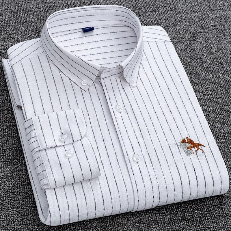 Рубашка мужская из ткани Оксфорд, Повседневная рубашка в клетку/в полоску, с длинными рукавами и карманами, рубашка кроя Regular Fit на пуговицах ...