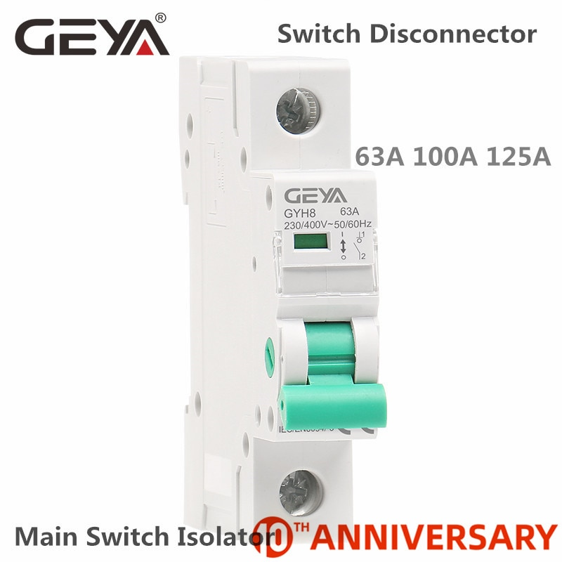 Interruptor de circuito del aislador del carril Din GEYA GYH8 230V/400V interruptor principal 63A 100A 125A interruptor de aislamiento