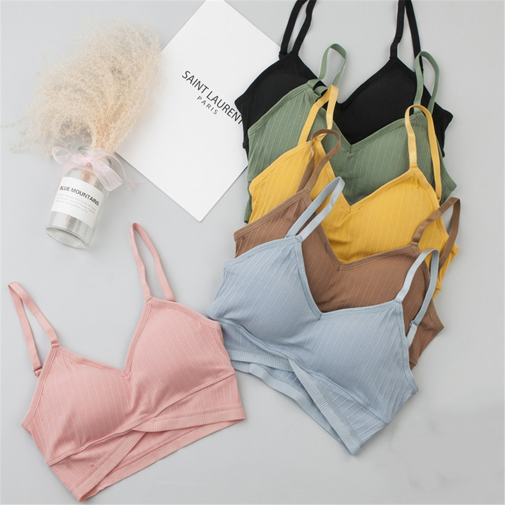Women Wireless Push Up Bra Cotton Bralette Pad Tube Top Female Soft Tank Simple Fashion Lingerie Breathable Underwear Bralette