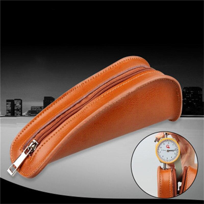 Portátil de couro genuíno único tubo fumar bolsa titular do saco de tabaco bolsa caso grande capacidade acessórios bolsa marrom