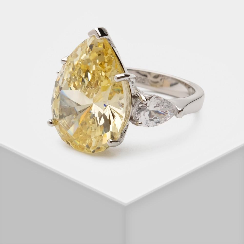 Amorita بوتيك 925 فضة خاتم قطرة الماء الزركون الذكرى خاتم زفاف فاخر