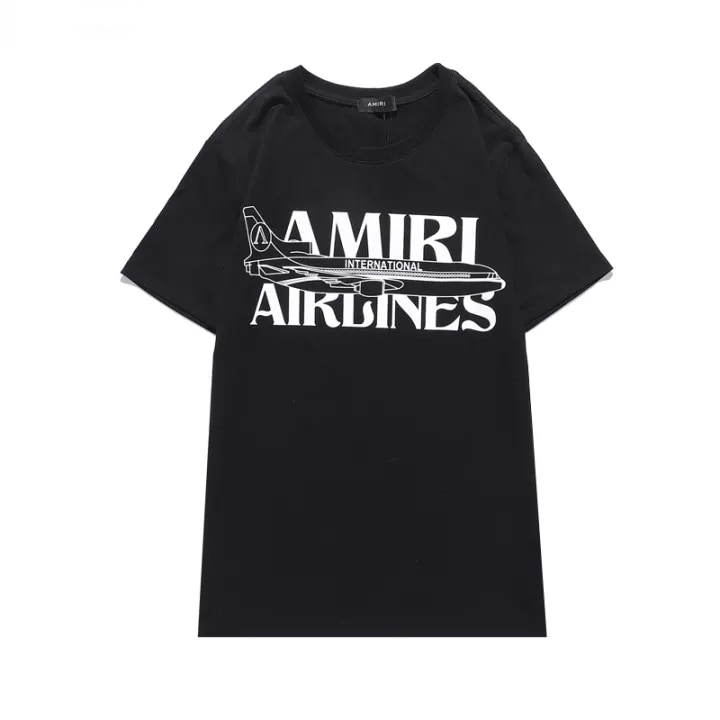Amiri-Camiseta de manga corta con cuello redondo para Summer camiseta estampada en...