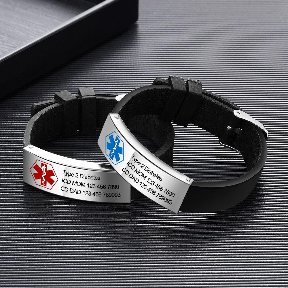 Brazaletes médicos de grabado gratis para hombres y mujeres deporte de emergencia para la Diabetes pulseras ajustables de silicona para identificación
