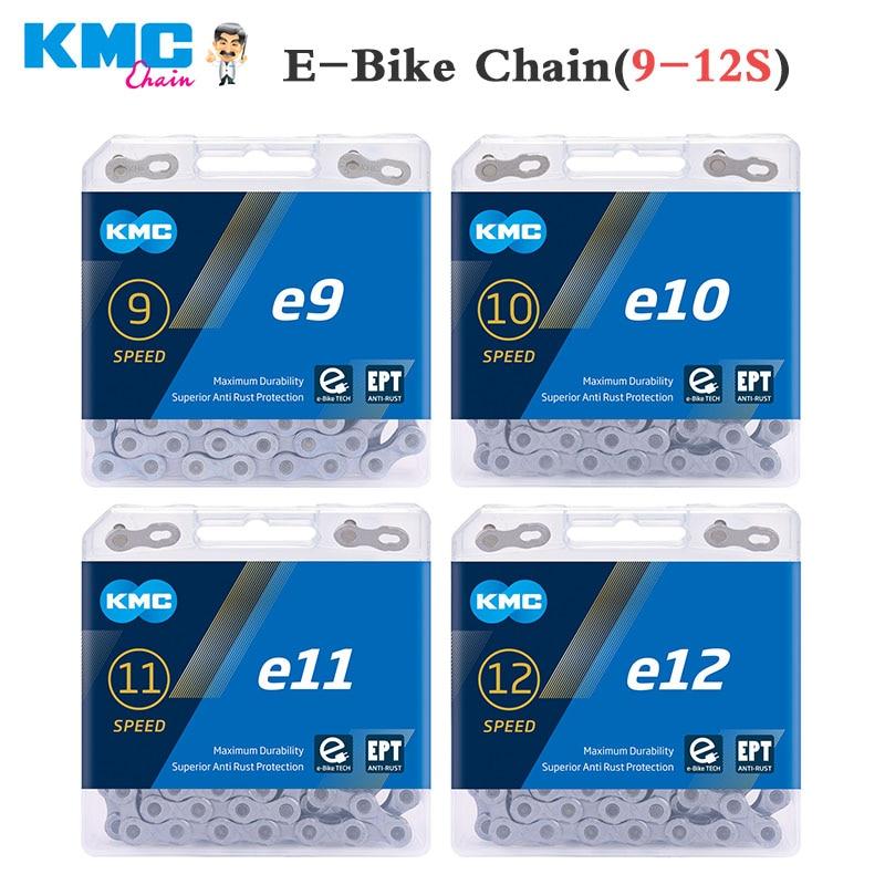 KMC E-BiKE سلسلة e9 e10 e11 e12 سلاسل الدراجات 9s 10s 11s 12s eBike أجزاء 130/136 وصلات مكافحة الصدأ الكهربائية دراجة نارية رياضية أجزاء