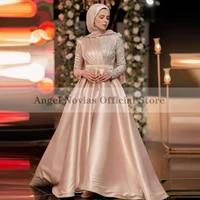 long sleeves champagne high neck muslim evening dress satin formal women prom dress robe de soiree long