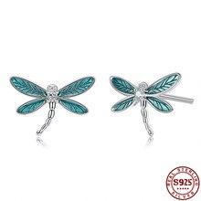 925 Sterling Silver Stud Earrings For Women Classic Green Dragonfly Epoxy Earring Wedding Fine Jewel