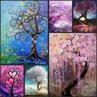 Bricolage plein diamant broderie paysage arbres decoration de la maison peinture mosaique decoration couture