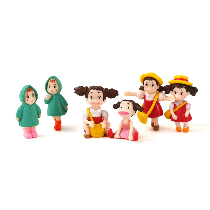 6 pçs/lote Anime Hayao Miyazaki Meu Vizinho Totoro Figura Brinquedo Menina Mei Satsuki Kusakabe PVC Modelo Boneca