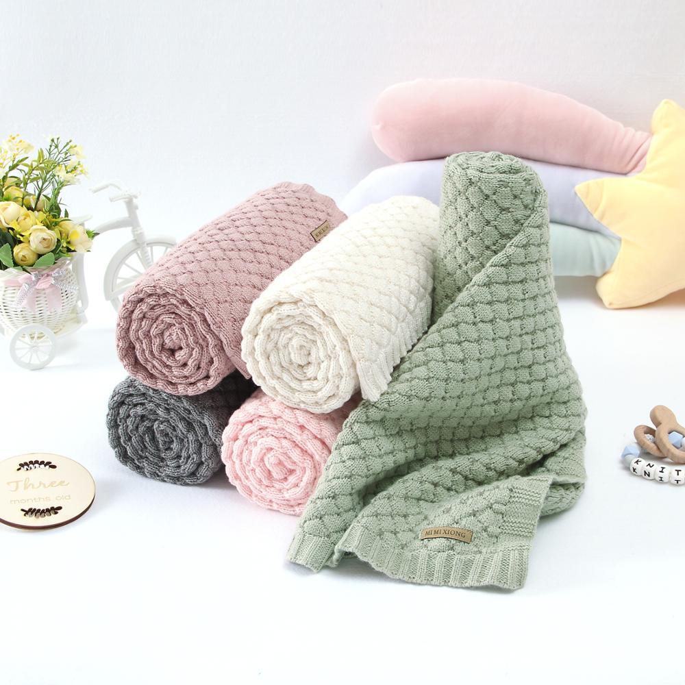 Baby Blankets 100*80cm Knitted Newborn Boys Girls Swaddle Wrap Blanket Infant Kids Stroller Bedding Basket Quilt Child Accessory