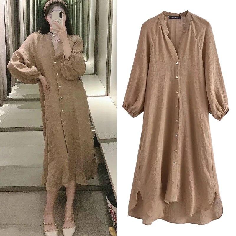 موضة المرأة قميص طويل الأكمام فستان صيفي 2021v فساتين طويلة فضفاضة الكتان النسيج واحدة الصدر الملابس رداء غير رسمي