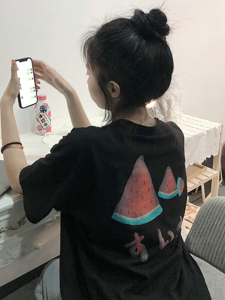 T Shirt Women Black Short Sleeve T-shirt Female Summer 2021 New Korean Loose Antique Small Chic Top