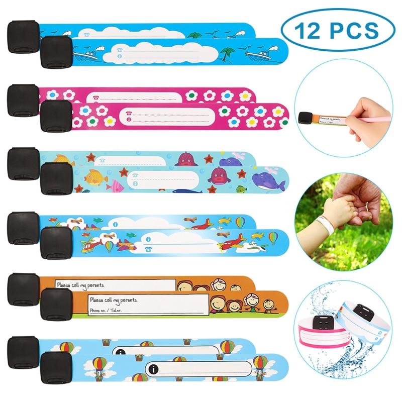 12 шт./компл., детский безопасный Открытый браслет для путешествий, защищающий от потери, браслет для распознавания безопасности для детей, регулируемый водонепроницаемый