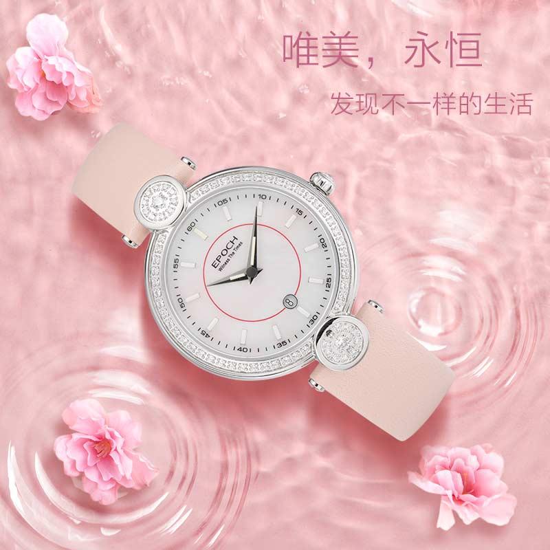 EPOCH Women Tritium Light T100 Watch Ronda Movement Quartz Luminous  Waterproof 100m Genuine Leather Girl Rhinestone Watch enlarge