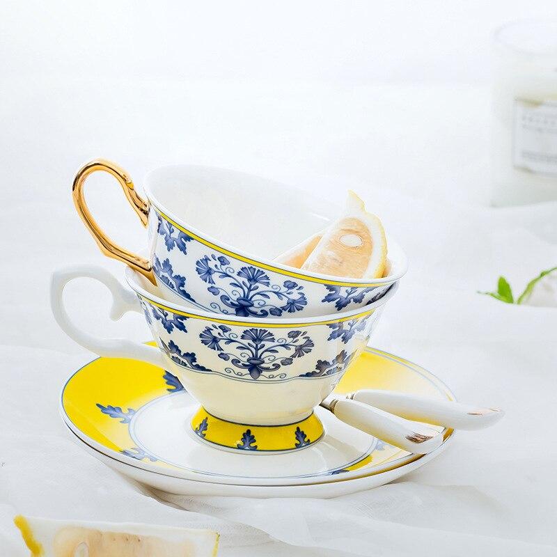 Juego de tazas de té, platillo, taza de café, vajilla de cocina, porcelana decorativa, elegante hueso de lujo, regalo de China para boda, azul y amarillo