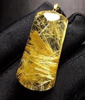genuine natural gold rutilated quartz titanium pendant 36 317 27mm rare gemstone rectangle brazil crystal stone pendant aaaaaa