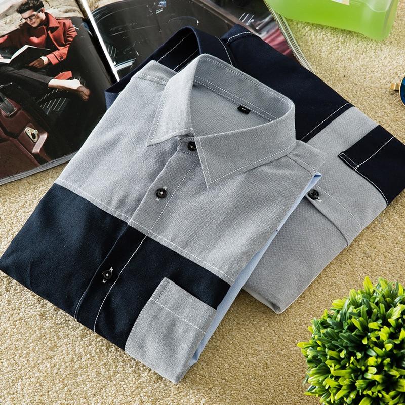 Осенняя новая стильная мужская Корейская приталенная рубашка с отворотом и длинными рукавами, модная повседневная Молодежная цветная руба...