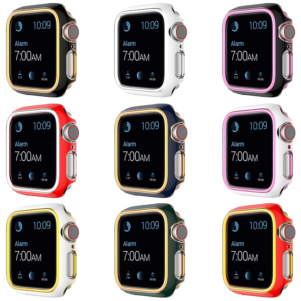 diamond case for apple watch band 40mm 44mm series 4 aluminum alloy frame strap bumper for iwatch 5 4 3 2 1 cover shell 38mm 42mm PC Screen Protector Cover for Apple Watch Case 6 se Series 6 5 4 3 2 Shell 44mm 40mm 38mm 42mm Hard Frame for iWatch Bumper