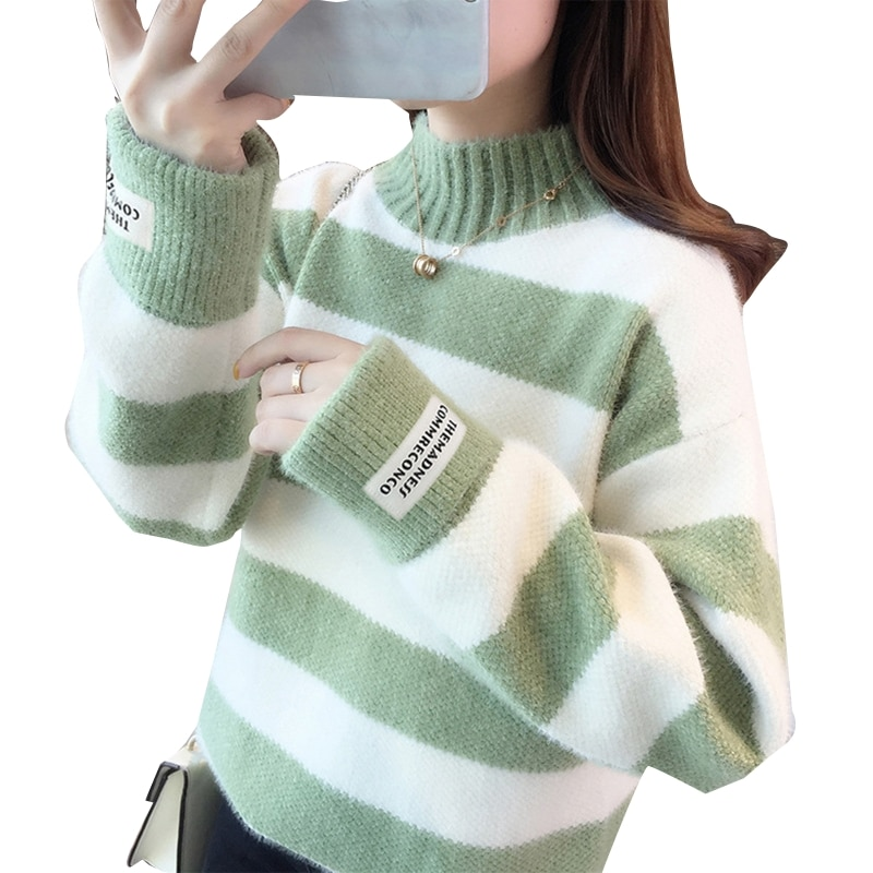 Women Long Sleeves Half Turtleneck Knitted Sweater Stitching Contrast Pullover enlarge