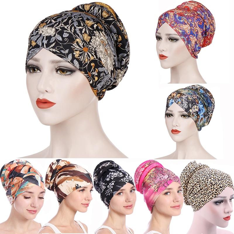 Фото - Leopard Printed Turban Cap Women Hijab Muslim Sponge Ethnic Wrap Head Bonnet Chemo Hat Female Bandanas Headwear Hair Accessories new cotton twist women turban caps muslim printed hijab bonnet islamic african wrap indian hat ladies chemo cap bandanas