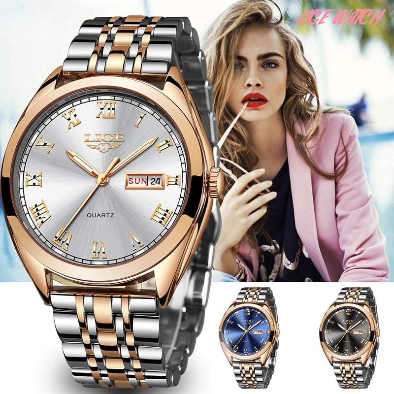 LIGE Fashion Women Watches Ladies Top Brand luxury Waterproof Gold Quartz Watch Women Stainless Stee