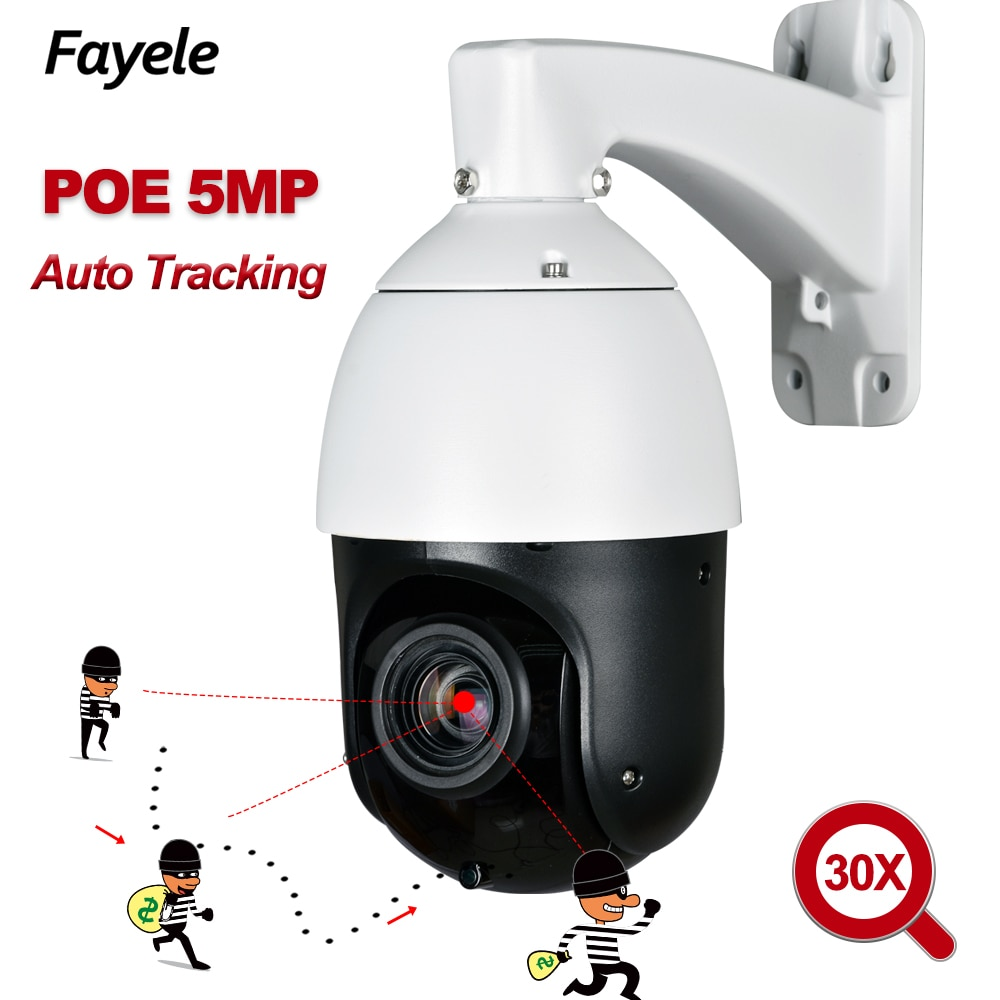 Home CCTV Mini Speed Dome POE 5MP Auto Tracking PTZ Camera 30X Zoom 1080P IP Camera 5 Megapixels P2P View IR 100M H.265 ONVIF