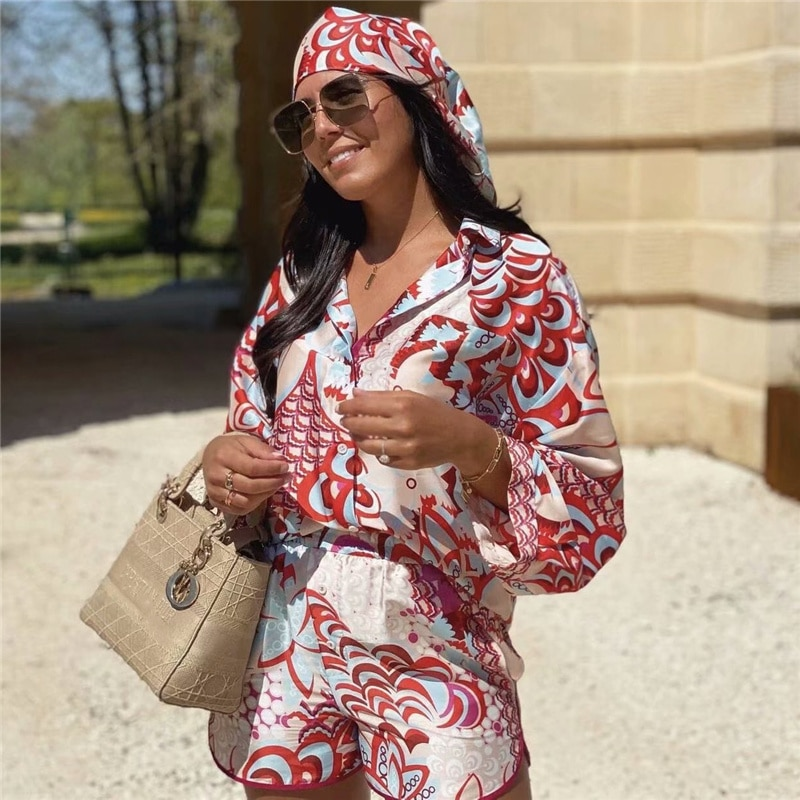Элегантные женские костюмы-рубашки с красным принтом, весна 2021, модные женские винтажные костюмы в народном стиле, женские пляжные костюмы