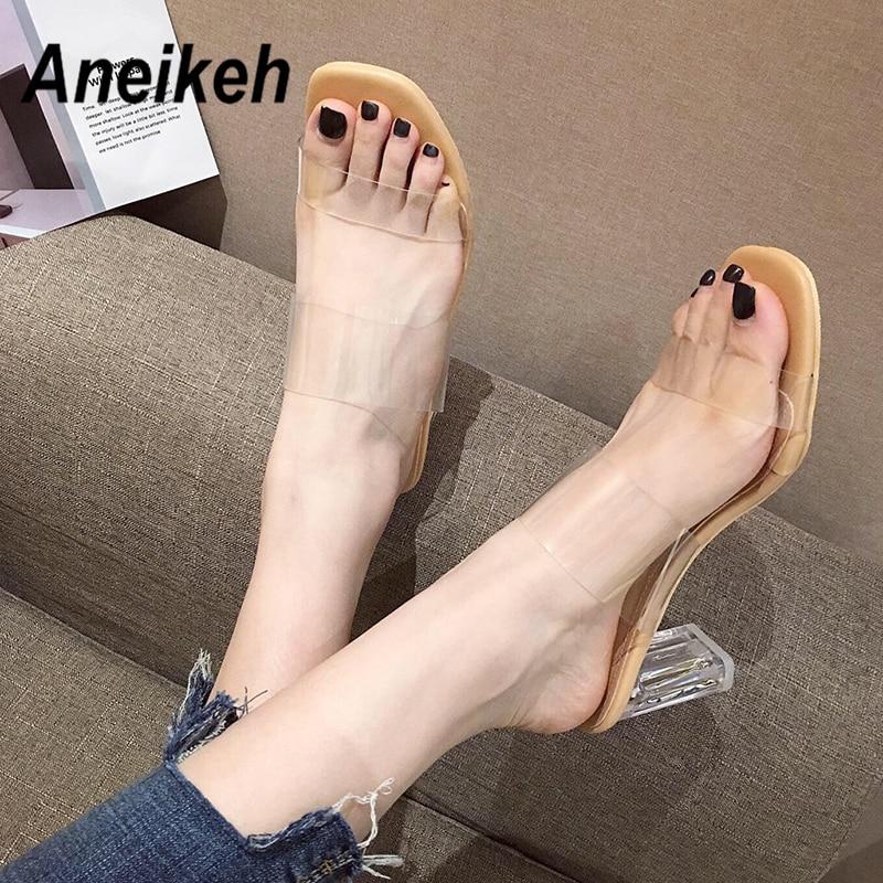 Aneikeh Summer PVC Transparent Women Sandals Crystal Peep Toe High Heels Shoes Ladies Perspex Spike Heel Slingback Pumps Sandals
