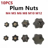 10pcs m4 m5 m6 m8 m10 m12 plum hand tighten nuts handle thread mechanical black thumb nuts clamping knob manual nuts perforated