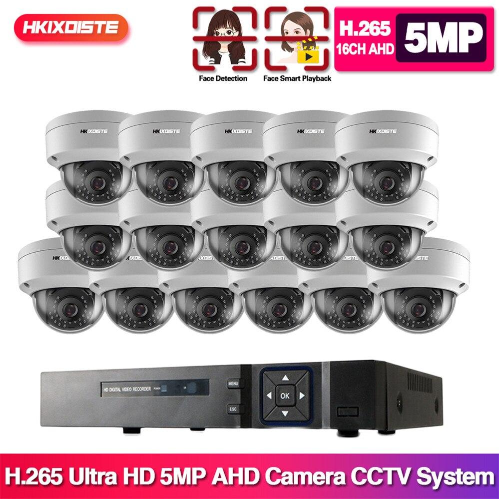 HD-TVI AHD 16CH 1080P 5MP DVR Kit 5MP sistema de cámaras de seguridad 16*5,0 MP visión nocturna de día CCTV Kit de seguridad del hogar con 4TB HDD