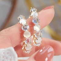 2021 trendy 14k real gold plated personality crystal opal hoop earrings for women jewelry zirconia s925 silver needle stud gift