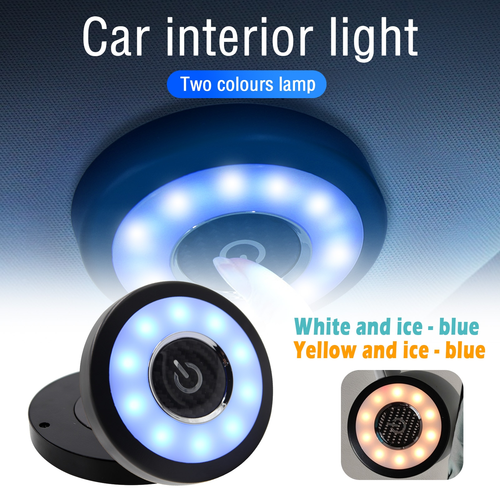 Car Touch Type Night Light Roof Ceiling Magnet Lamp Reading USB Charging LED Portable Round Universal Wireless Auto Trunk Bulb
