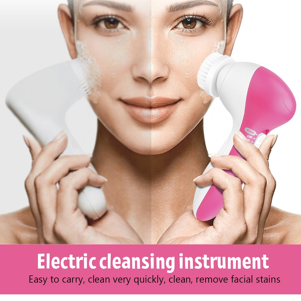 Electric Face Cleansing Brush Cleaner Massager Facial Wash Face Machine Deep Cleaning Pore Skin Care Waterproof Silicone 5 in 1 summer style electric facial pore cleaner 5 in 1 electric wash face machine body cleaning massage mini skin beauty brush