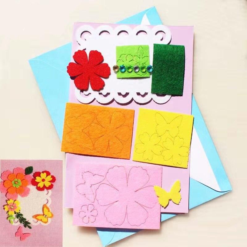 Поздравительные открытки ручной работы из нетканого материала, в упаковке, на День Благодарения, Рождество, День Святого Валентина, Материа...