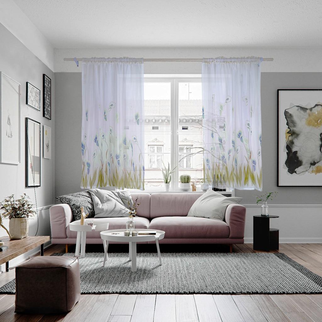 Cortina de tul con flores de Narciso para sala de estar, cortina con mango de tul coveteado, cortina de ventana para la cocina de organza 1 Uds.