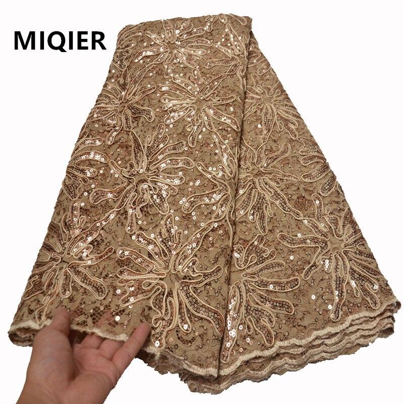 MIQIER 2020 encaje de lentejuelas africanas de calidad nigeriana tela de encaje de seda de leche gasa bordada Cordón de tela de encaje Royal FLP-1076