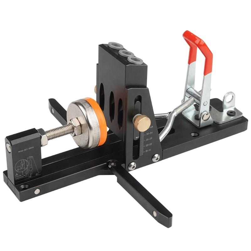 Oblique Hole Locator Puncher Locator Drill Bit Pocket Hole Drill Guide Dowel Jig Sturdy Aluminium Alloy Woodworker Tools G99A