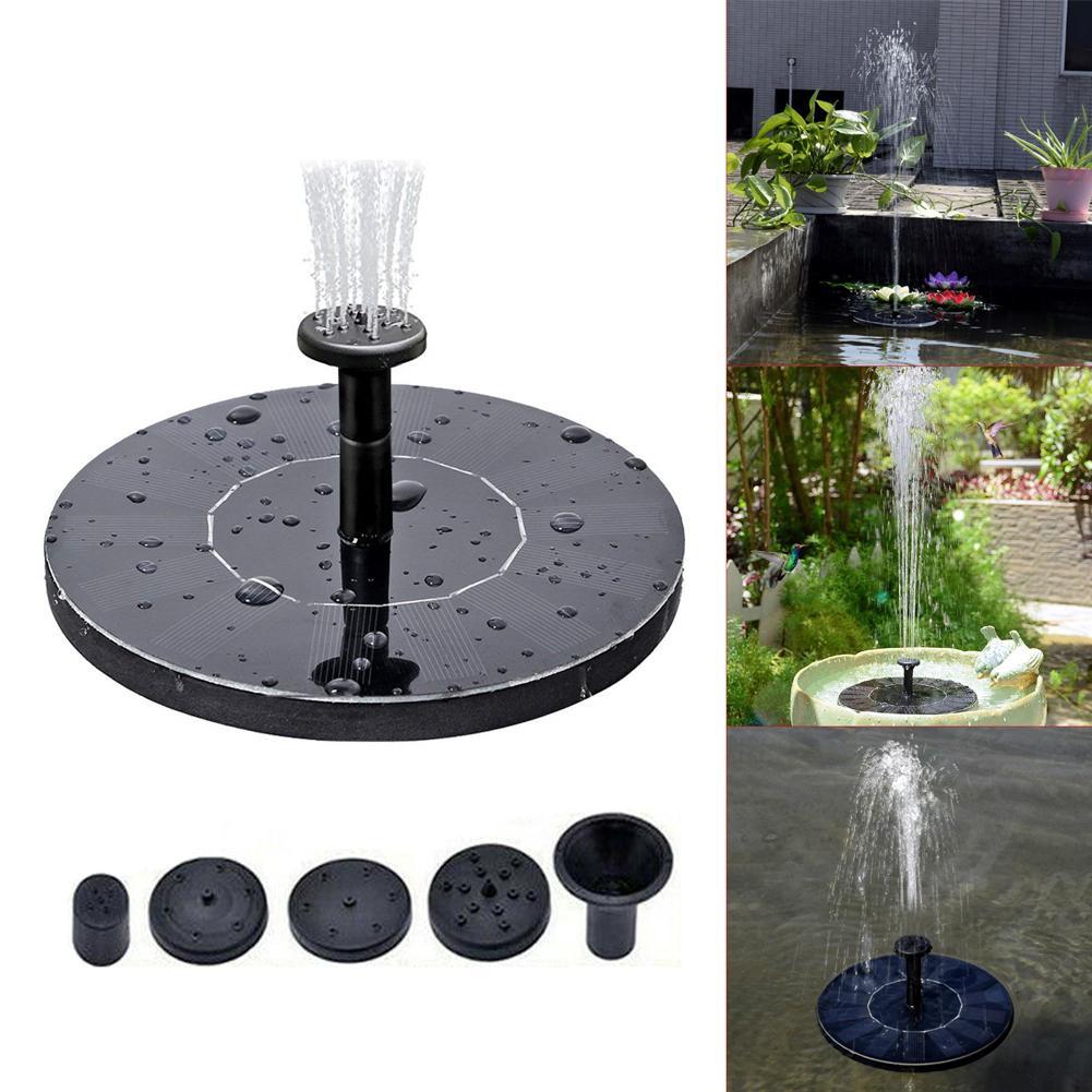 Nuevo 5,3 pulgadas Mini Solar fuente de agua ronda fuente de agua fuentes de la decoración del jardín estanque de natación piscina Baño de aves Waterfal