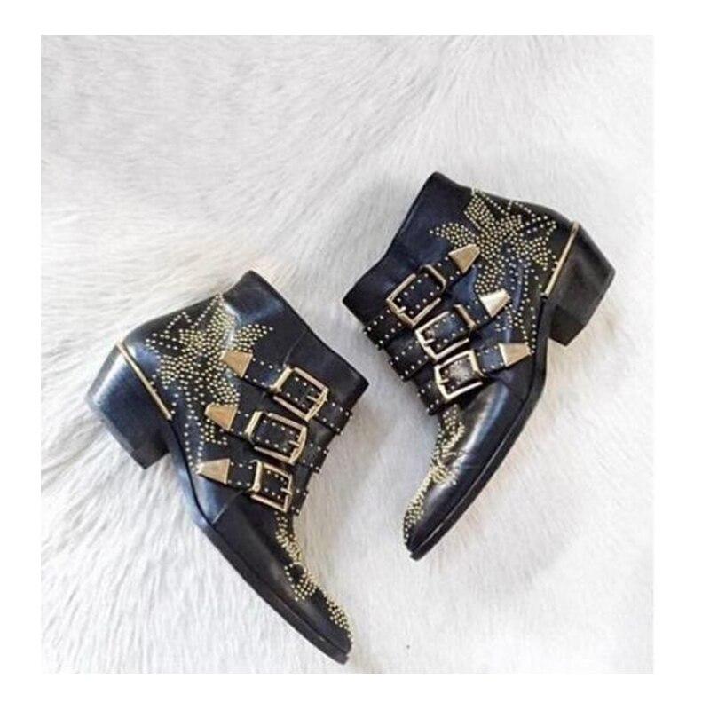2020 susanna cravejado couro botas de tornozelo feminino dedo do pé redondo rebite flor martin botas de luxo botas de veludo zapatos mujer