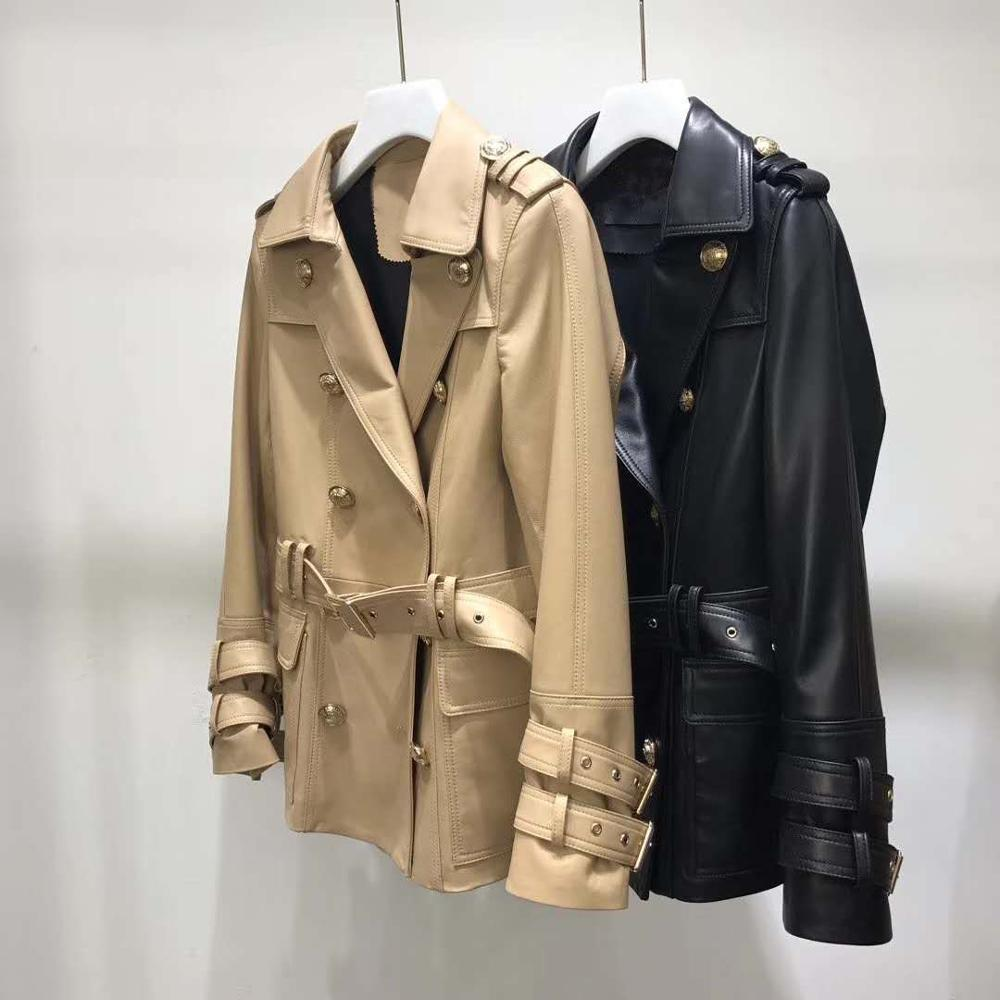 New Brand Women Coat Spring 2020 Turn-Down Collar Colthes With Sashes Genuine Leather Jacket Female Fashion Outerwear Size S-XXL